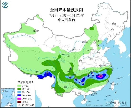 全国降水量预报图(7月9日20时-10日20时)
